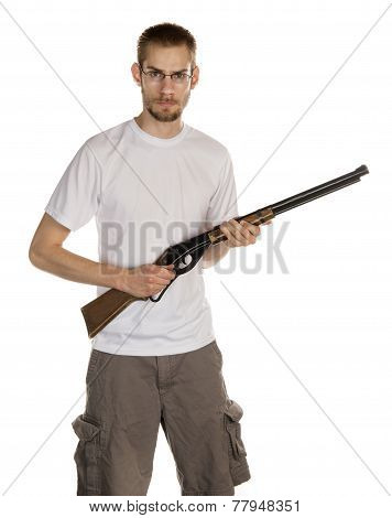 White male holding a rifle gun isolated on white background poster