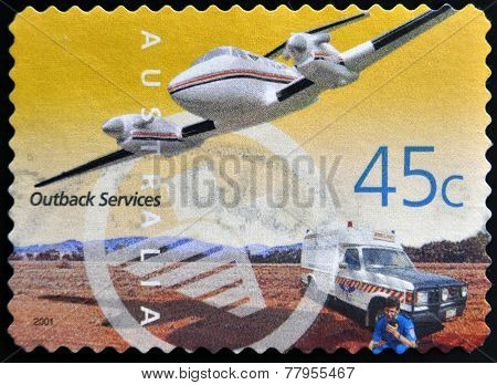 AUSTRALIA - CIRCA 2001: A Stamp printed in Australia shows the Royal Flying Doctor Service Aircraft