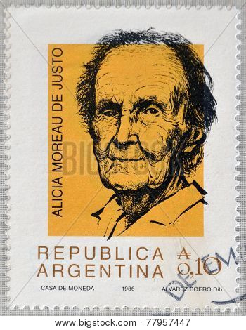 ARGENTINA - CIRCA 1986: Stamp printed in Argentina shows Alicia Moreau de Justo circa 1986