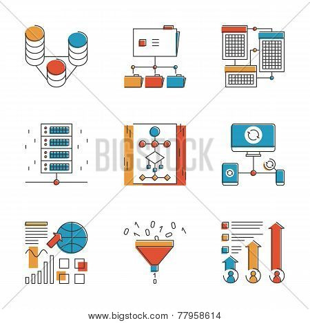Big Data And Network Analysis Line Icons Set