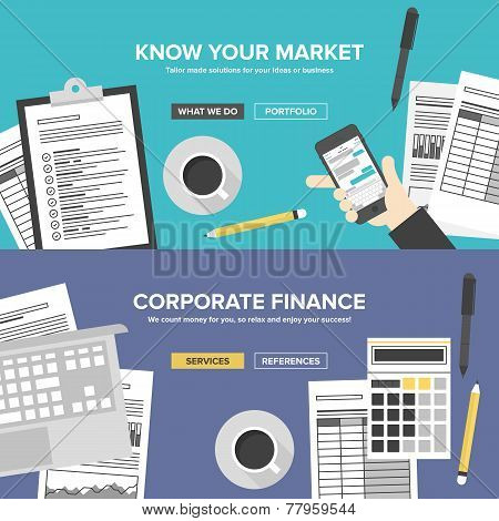Corporate business cervices financial analytics and market research office organization process company accounting and planning documents. Flat design banner set modern vector illustration concept. poster