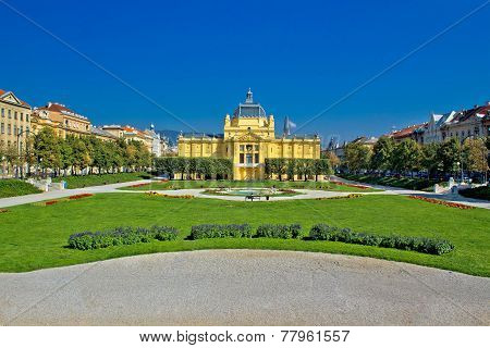 Pavillion in green park of Zagreb capital of Croatia poster
