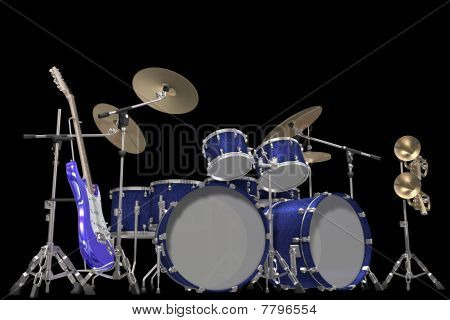 Jazz background drum kit guitar and trumpet