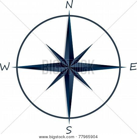 Compass rose on white background