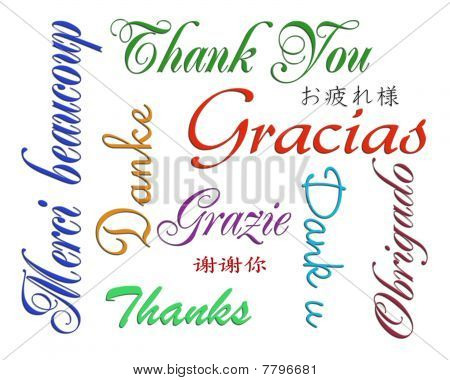 Thank you card many languages