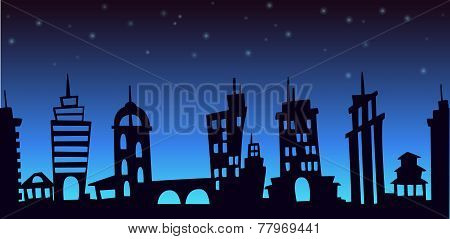 Night cartoon city landscape