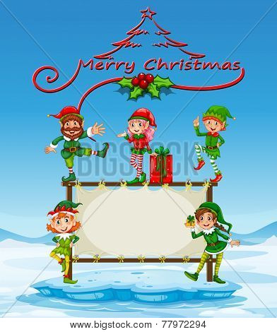 Illustration of a christmas card with many elves poster
