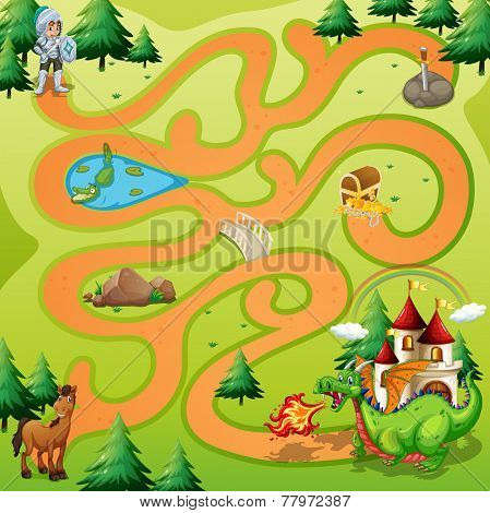 Maze game board with warrior an dragon theme