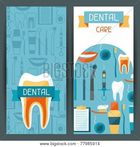 Medical banners design with dental equipment icons.
