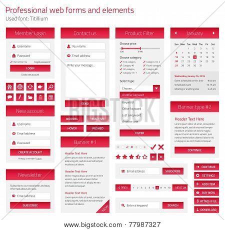 Professional Set Of Web Forms And Elements On Light Background