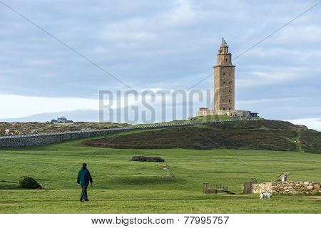 Tower Of Hercules In A Coruna, Galicia, Spain.