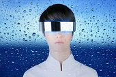 silver futuristic glasses woman glass water drops poster