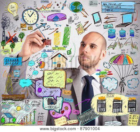 Businessman design an ingenious ecological improvement plan poster