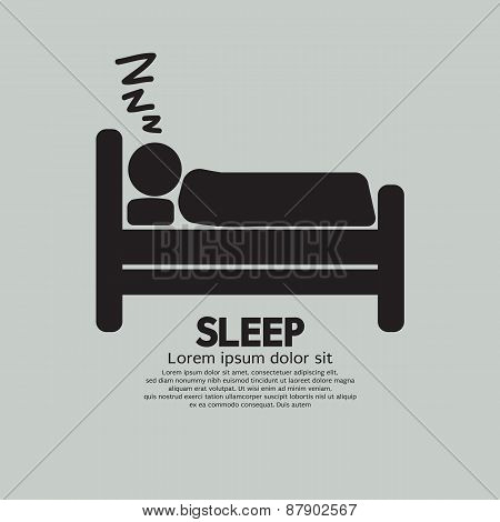 Person Sleeping In Bed Symbol.