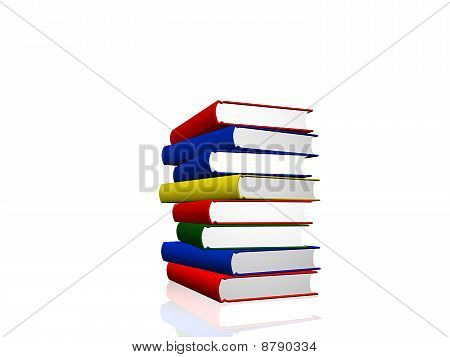 Pile Of Color Books Over White Background