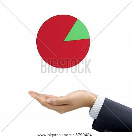 Businessman's Hand Holding Business Pie Chart