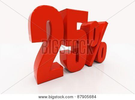 25 percent off. Discount 25. 3D illustration