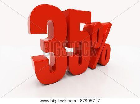35 percent off. Discount 35. 3D illustration poster