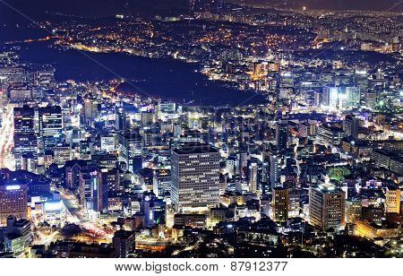 Downtown cityscape of Seoul, South Korea