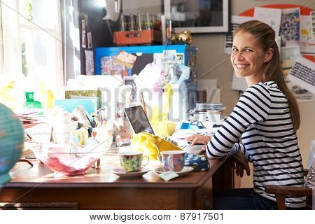 Woman Running Small Business From Home Office