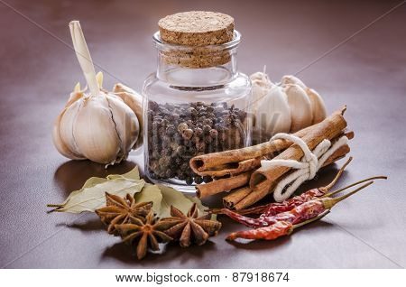 jar and collection of spices