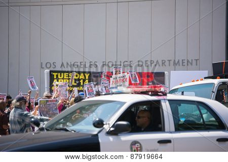 Police Observing People In Front Of Los Angeles Police Department