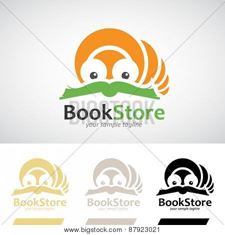 Book Worm Reading a Book Icon Vector Illustration