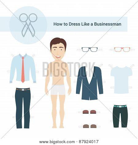 How to Dress like a Businessman Vector Set