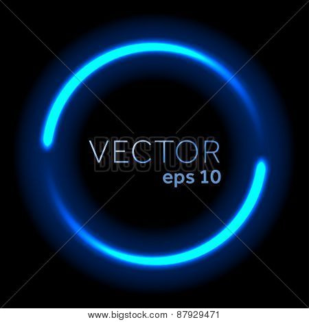 Blue neon flowing lights circle