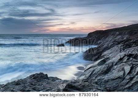 Dusk At Little Fistral Beach
