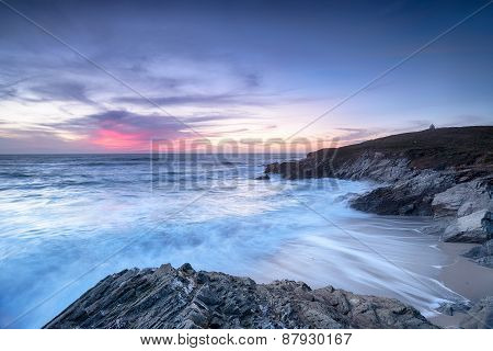 Sunset At Newquay In Cornwall