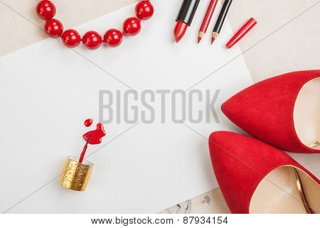 poster of Still life of fashion woman. Feminine cosmetic background. Overhead of essentials fashion woman objects