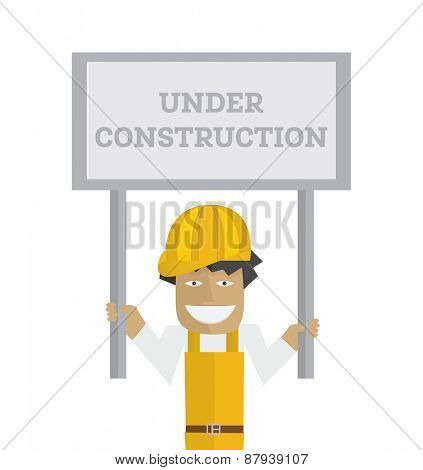 Worker with under construction sign