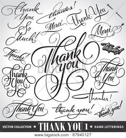 Set of custom THANK YOU hand lettering -- handmade calligraphy, vector (eps8)