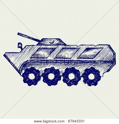 Armored troop-carrier. Doodle style. Isolated on gray background poster