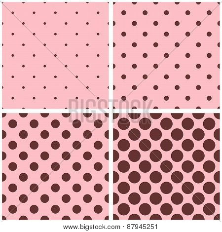 Tile vector pattern set with chocolate brown polka dots on pastel pink background