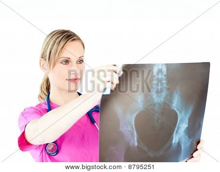 Serious Female Surgeon Holding A X-ray