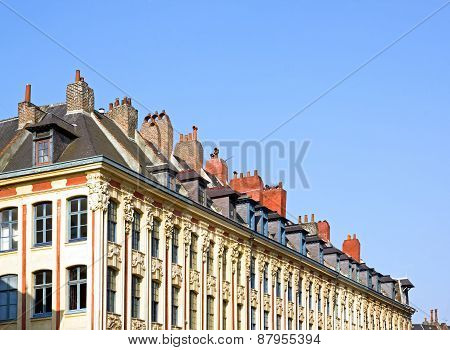chimneys on a roof, Lille (Nord, France). Fireplaces Alignment, Lille France