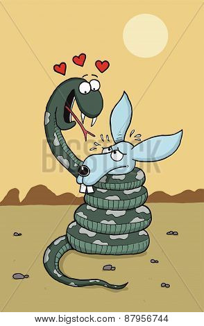 Snake is in love with rabbit