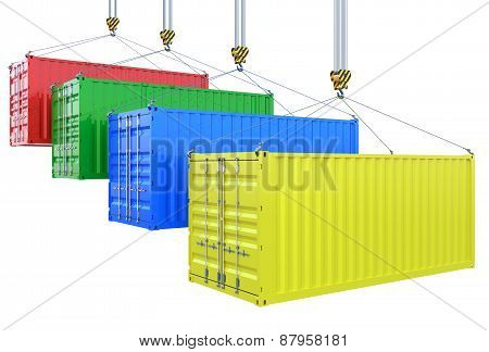 Different Colors Cargo Containers On The Crane Hook Isolated