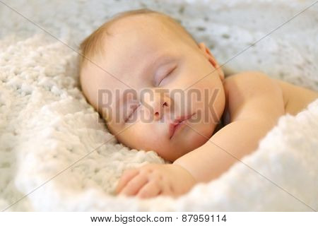 Sleeping Newborn Baby Girl In White Blankets