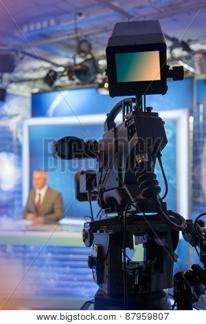 Video camera - recording in TV studio - Talking To The Camera