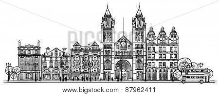 British old traditional facade of London - vector illustration
