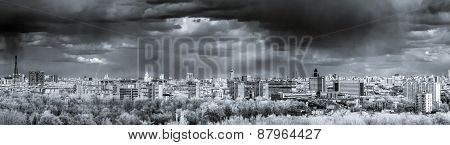 Moscow aerial wide infrared panorama: City Stalin hightowers skyscrapers. Stormy weather overcast. poster