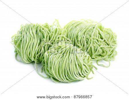 Jade Noodle, Vegetable Noodles, Green Noodles On White