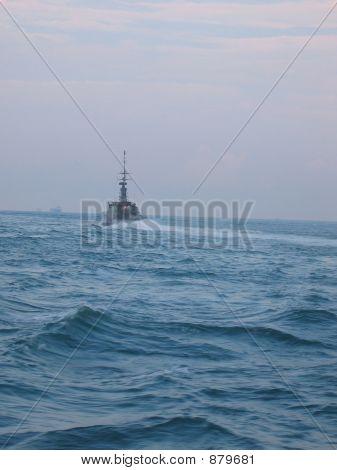 Military - Warship Speeding Away