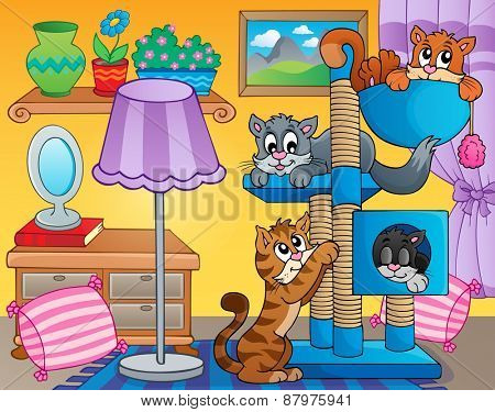 Room with happy cats - eps10 vector illustration.