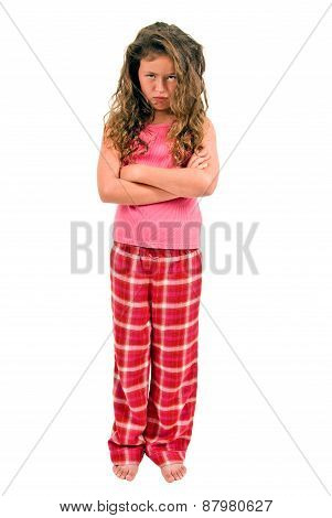 Little Girl Pouting In Pajamas