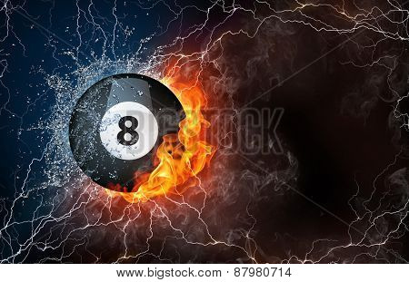 Billiard ball on fire and water with lightening around on black background. Horizontal layout with text space.