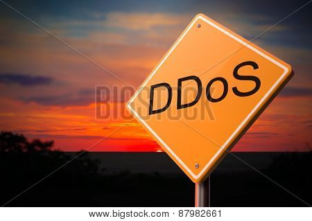 DDoS on Warning Road Sign.